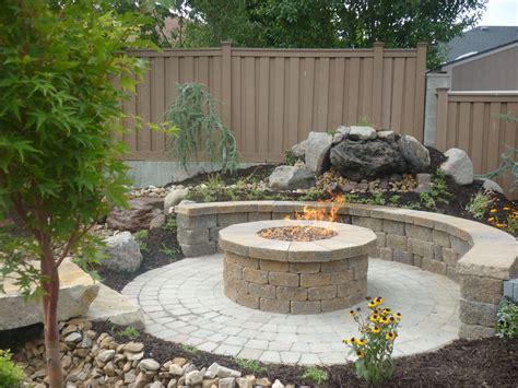 concrete grill pad area circular paver patio with