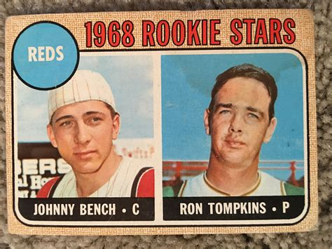 johnny bench rookie lot detail 1968 topps johnny bench rookie stain bv