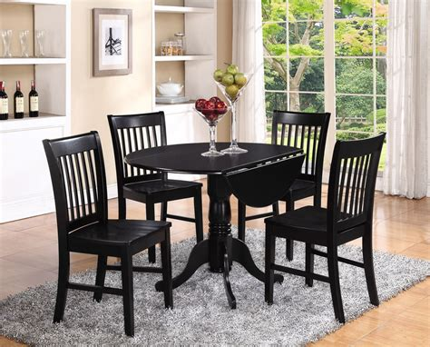 Kitchen And Dining Furniture 5pc Set Dinette Kitchen Dining Table With 4 Wood Seat Chairs In Black Ebay