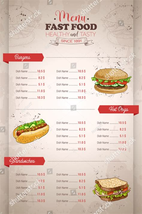 Fast Food Menu Card Templates by 14 Sandwich Menu Designs Editable Psd Ai Format