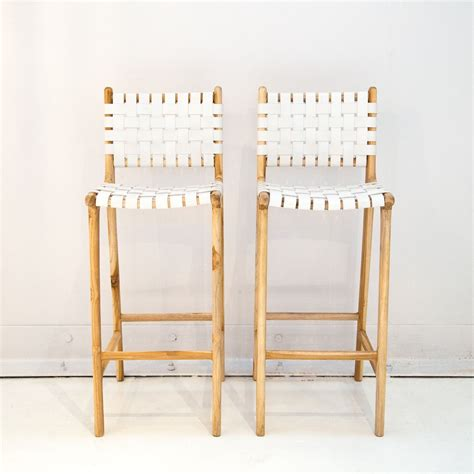 Leather Weave Bar Stools leather weave bar stool with back support white