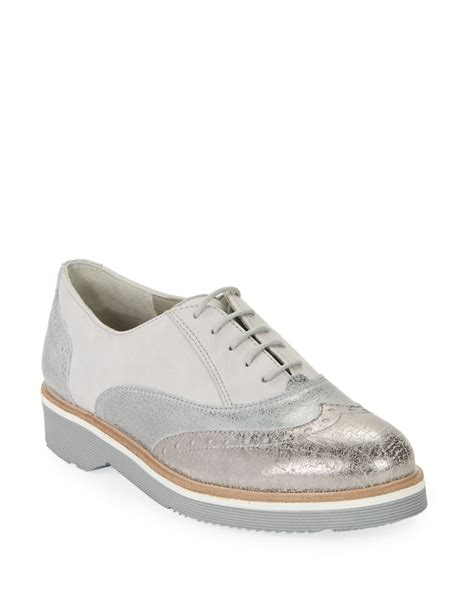 paul green shoes paul green fairfax metallic leather saddle shoes in