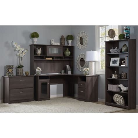 bush cabot collection 60 inch l shaped desk bush furniture cabot collection l desk with hutch lateral