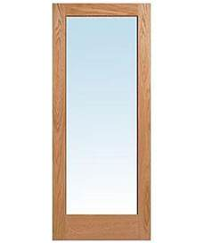wooden doors with glass panels 1 lite red oak clear tempered glass stain grade solid