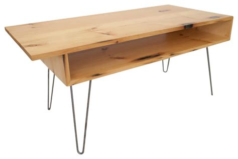 mid century modern reclaimed white pine coffee table with