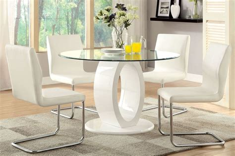 Lodia Set lodia i white glass top pedestal dining room set