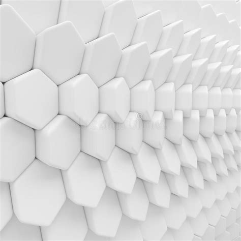 white abstract hexagons backdrop  rendering geometric