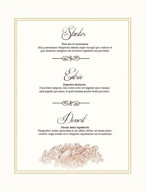 free printable menu card template 36 wedding menu templates free sle exle format