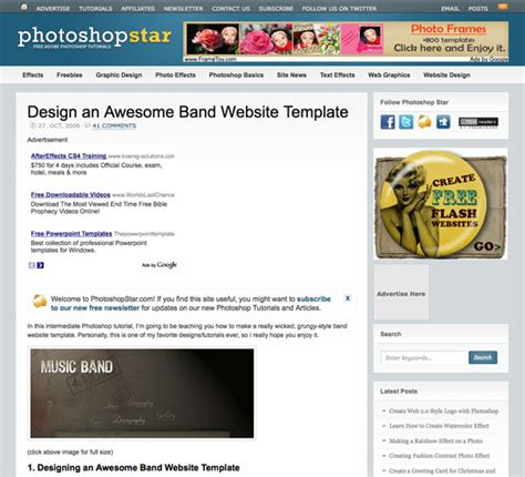 tutorial web template 10 cool photoshop tutorial websites web courses bangkok