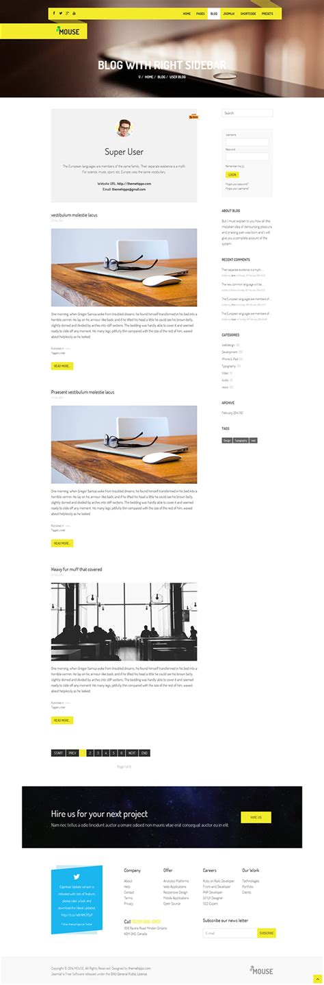joomla html5 template mouse multipurpose responsive joomla template on behance