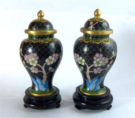 Pair 2 Large Antique Style Koi Lidded Jar Vase Blue White New What S It Worth Pair Black Cloisonne Jars With Lid Vintage Cherry