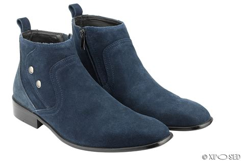 mens real suede leather blue boots smart casual zip ankle