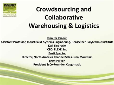 Crowdsourcing Mba by Crowdsourcing And Collaborative Warehousing And Logistics