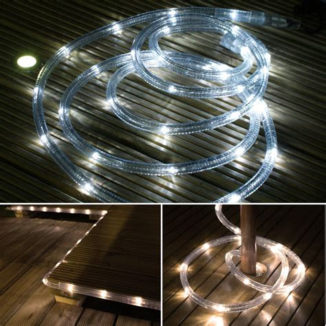 solar powered led rope lights solar powered led rope light outdoor garden decking 3m ebay