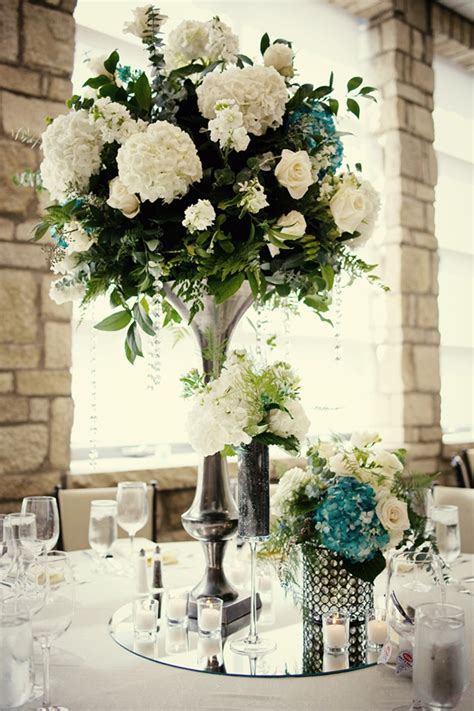 wedding reception centerpieces ivory hydrangeas