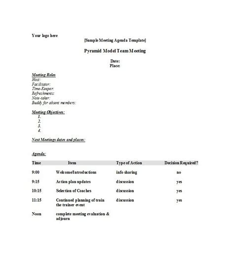 51 Effective Meeting Agenda Templates Free Template Downloads Meeting Agenda Outline Template