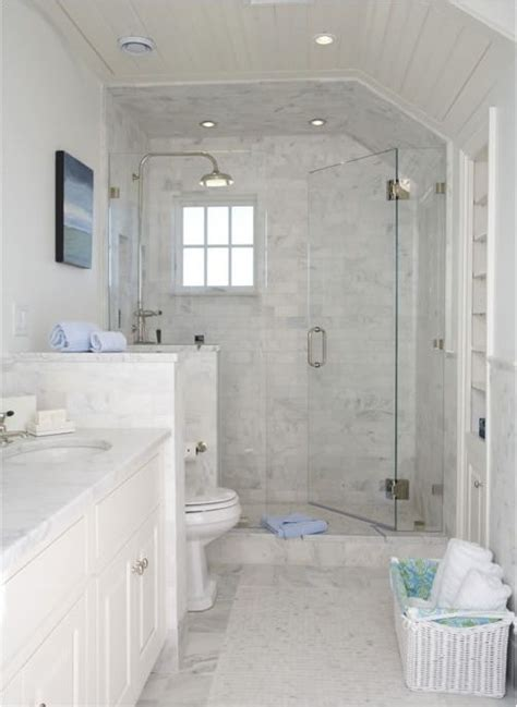 small white bathrooms floor for shower floor instead of black squares master