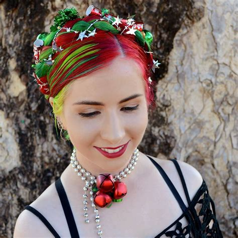christmas hair wreath braided updo rainbow hair colour