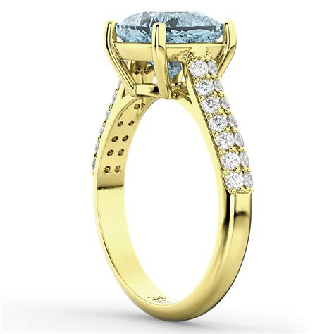cushion cut aquamarine engagement ring 14k