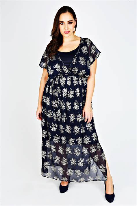 Maxi Friends Foil jo midnight blue gold foil chiffon maxi dress