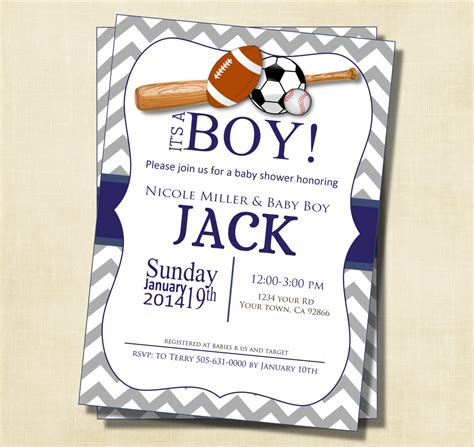 Themed Baby Shower Invitations by Gray And Blue Chevron Sports Theme Baby Shower Invitation