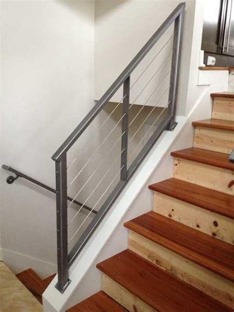 Custom Interior Railings by Wood Staircase Cable And Stainless Steel On