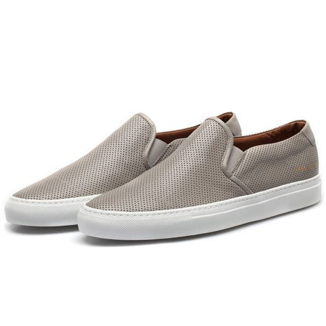 perforated slip on sneaker common projects grey slip on perforated sneakers in gray