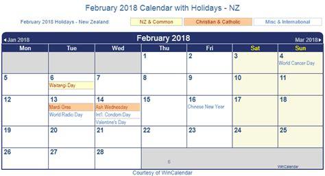 printable calendar nz 2018 print friendly february 2018 new zealand calendar for printing