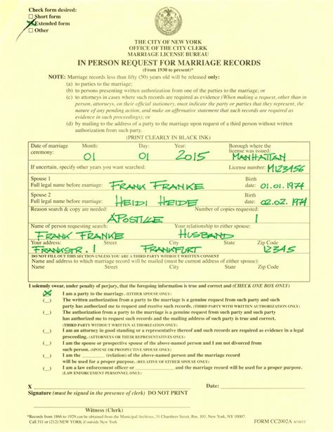 Nyc Clerk Marriage Records Heiraten In New York City Der Ablauf Vom Antrag Zur Apostille