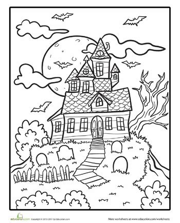 halloween coloring pages elementary school spooky mansion coloring page haunted houses worksheets