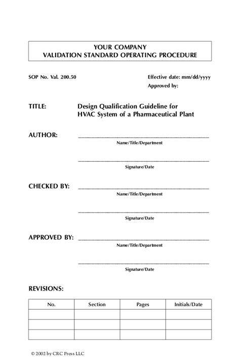 design qualification form validation standard operating procedures