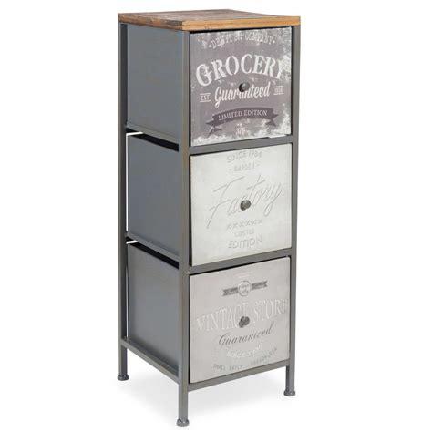 cassettiere maison du monde mobiletto 3 cassetti in metallo h 69 cm vintage store