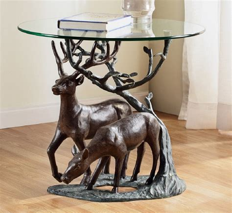 deer pair accent end table stag antler rustic cabin lodge