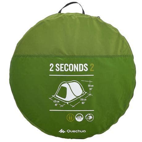tende 2 seconds 2 seconds cing tent 2 person green quechua