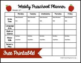 weekly preschool planner preschool planner free