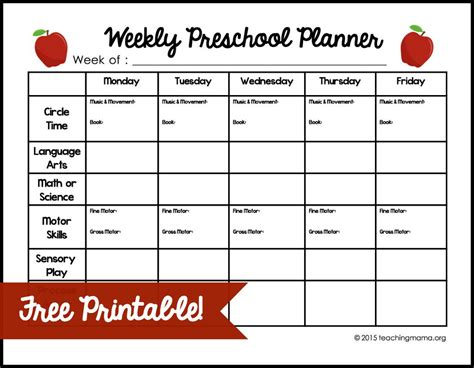 printable lesson plan for preschool weekly preschool planner