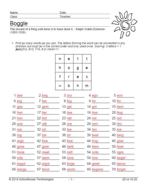 Boggle Worksheet by Vocabulary Worksheet Maker For Teachers Schoolhouse