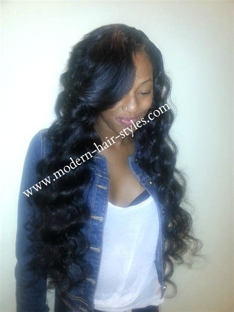 partial sew in with braids hairstyles partial sew in weave with a deep wave texture for its curl