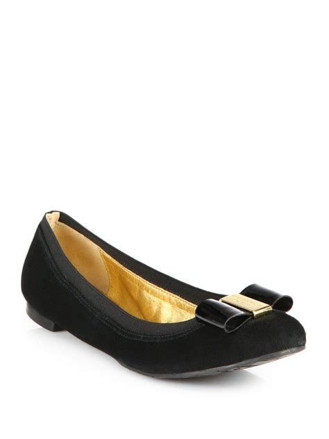 shoes flats kate spade tock suede bow ballet flats in black lyst