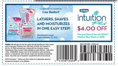 printable coupons food 4 less 4 off schick intuition printable coupon