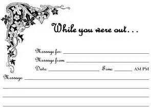 free printable quot while you were out quot phone message sheets