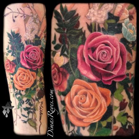 bouquet of roses tattoo realistic color flower bouquet by dimas reyes tattoos