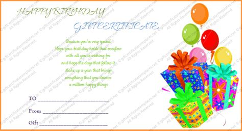 Printable Gift Bumper Birthday Gift Certificate Template Birthday Gift Card Template Printable