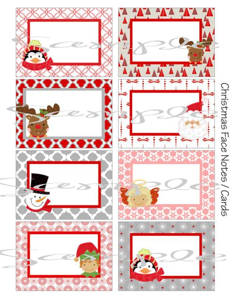 printable holiday note cards instant download christmas faces school lunch box blank note