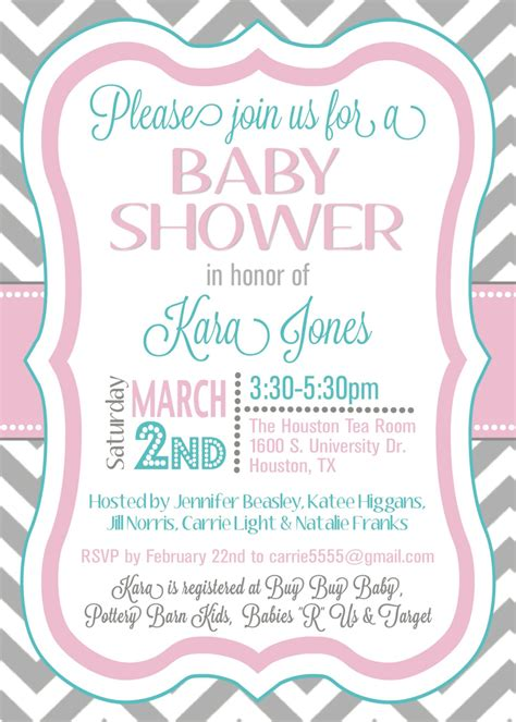 custom chevron baby shower invitation digital  splendidandspark