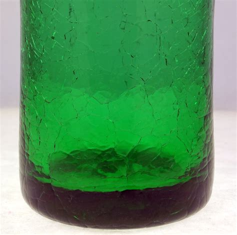 vintage green ruffled fluted crackle glass vase 6 5 inch