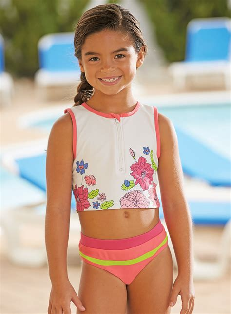 preteen pics from cwdkids flower crop tankini swim suit preteen