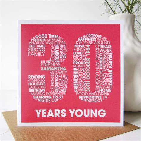 30th Birthday Cards Personalised 30th Birthday Card By Mrs L Cards
