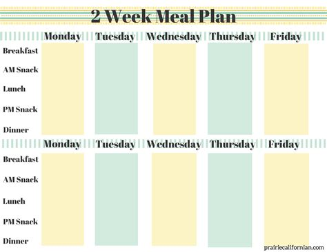 two week meal plan template a new year of fitness healthy