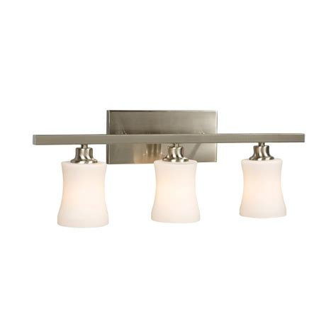 Delta Light Fixtures Bathroom Shop Galaxy 3 Light Delta Brushed Nickel Standard Bathroom Vanity Light At Lowes